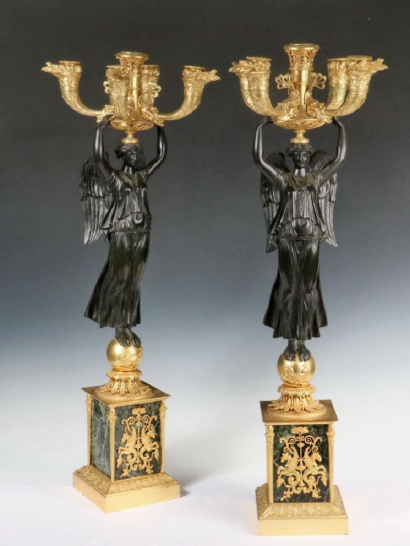 FINE MARBLE AND BRONZE GILDED FRENCH CANDELABRUM