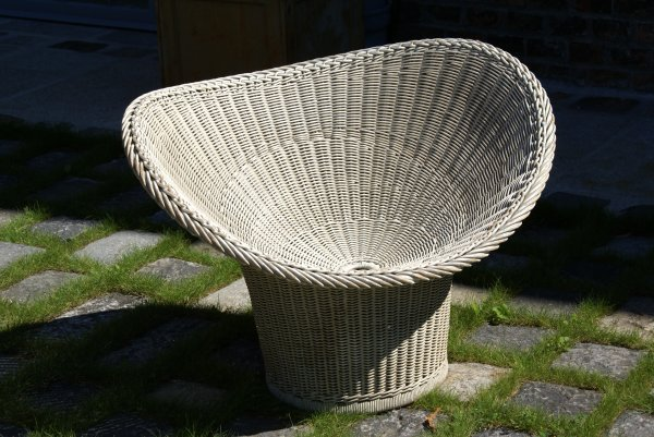 "13:  ""Egon EiermannBowl-shaped wicker chair, model E-20"