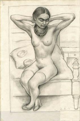 448: DIEGO RIVERA - Desnudo Sentado con Brazos