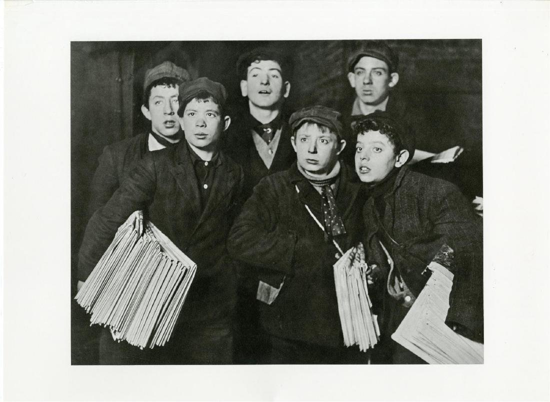 """5: LEWIS HINE - A Group of """"Newsies"""" at the Brooklyn"""