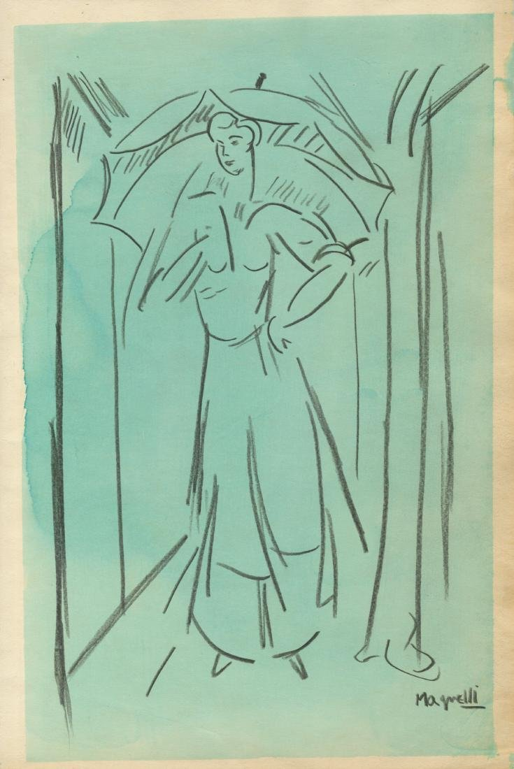 1144: ALBERTO MAGNELLI - Signora con Ombrello