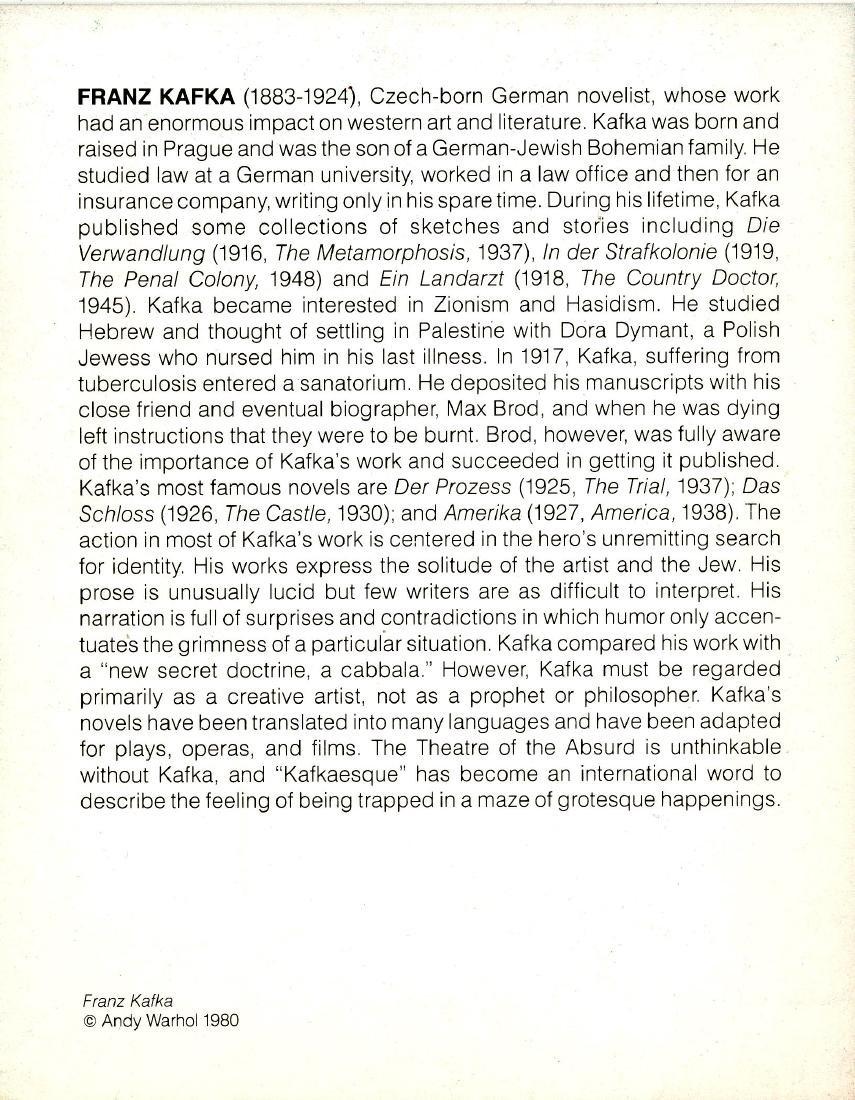 1465: ANDY WARHOL - Franz Kafka - 2
