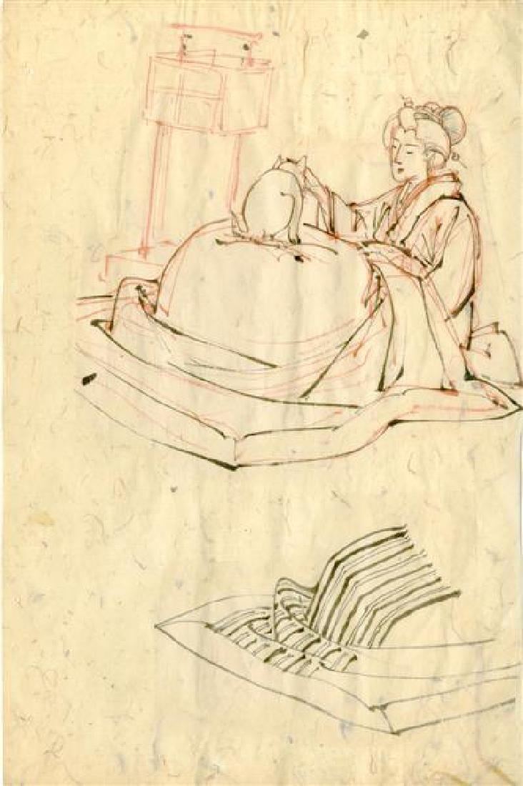 118: TSUKIOKA YOSHITOSHI - Study for Woodcut #12