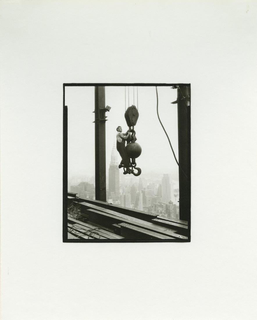 "173: LEWIS HINE - Riding the ""Ball,"" High Up on the"