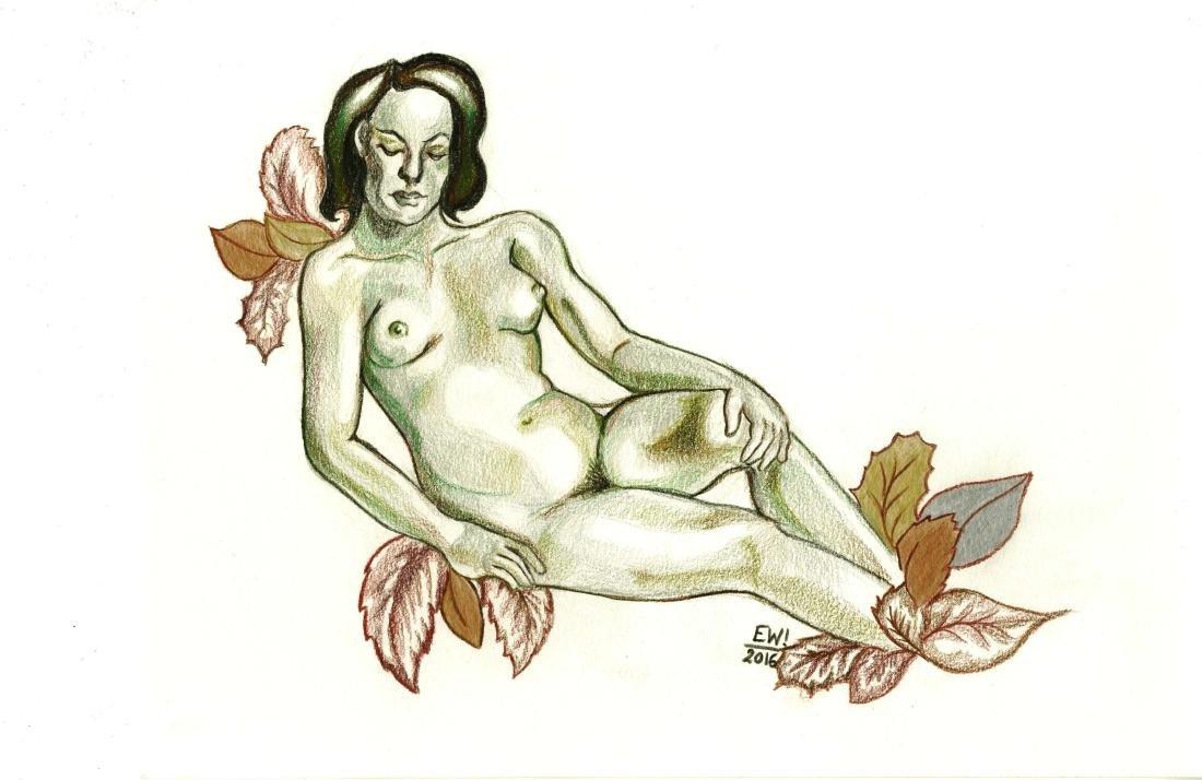 889: ESTELA WILLIAMS - Nude and Leaves