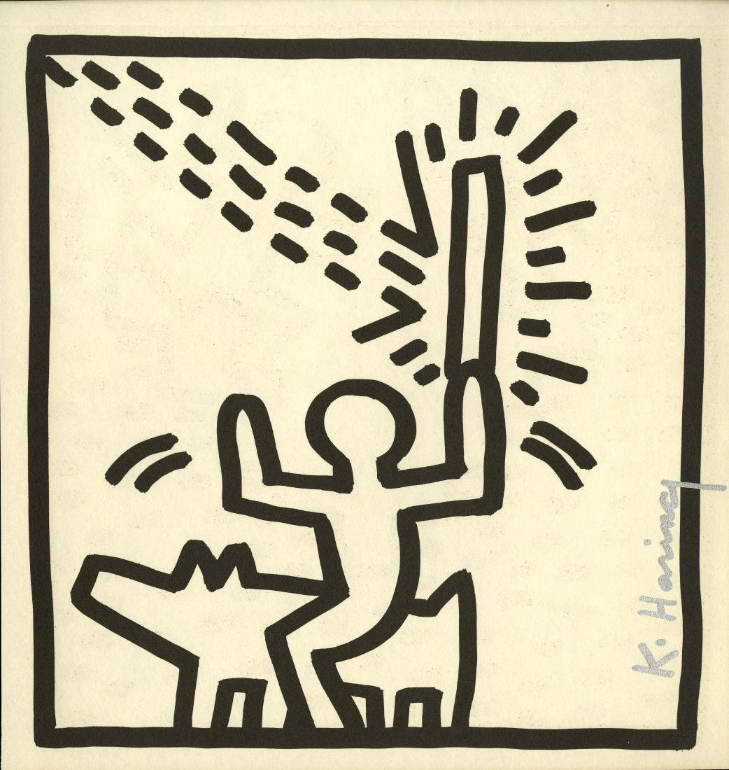 932: KEITH HARING - Man Riding Dog