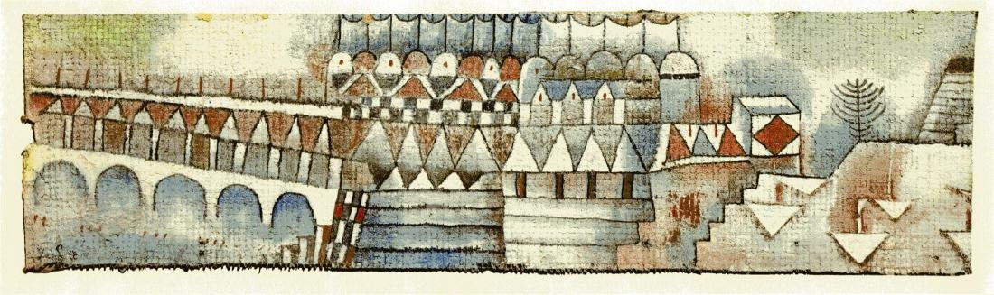 """1496: PAUL KLEE - Old Town and Bridge [""""Ville ancienne"""