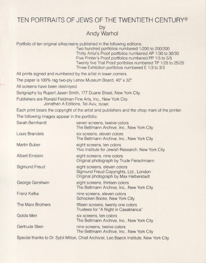 1192: ANDY WARHOL - Ten Portraits of Jews of the - 10