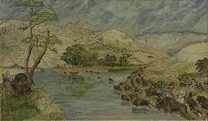 KARL BODMER - The Buffalo Hunt - Gouache, watercolor,