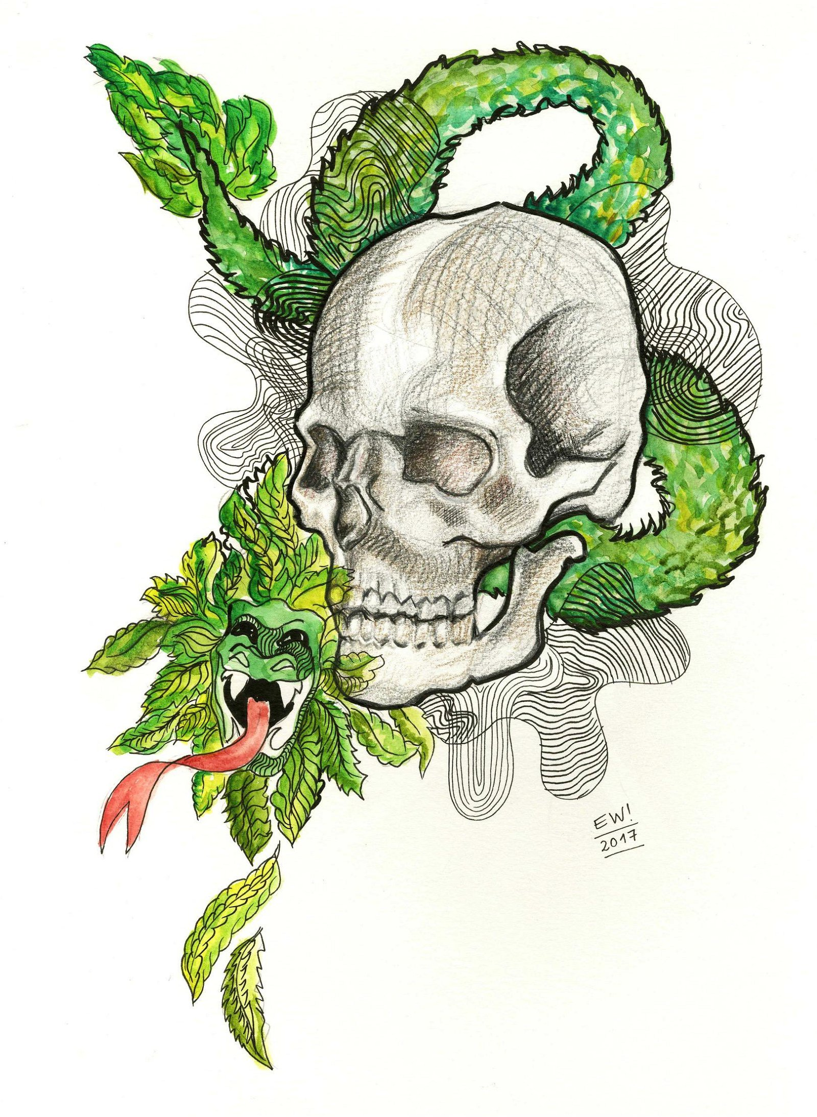 ESTELA WILLIAMS - Quetzalcoatl - Watercolor, ink, and