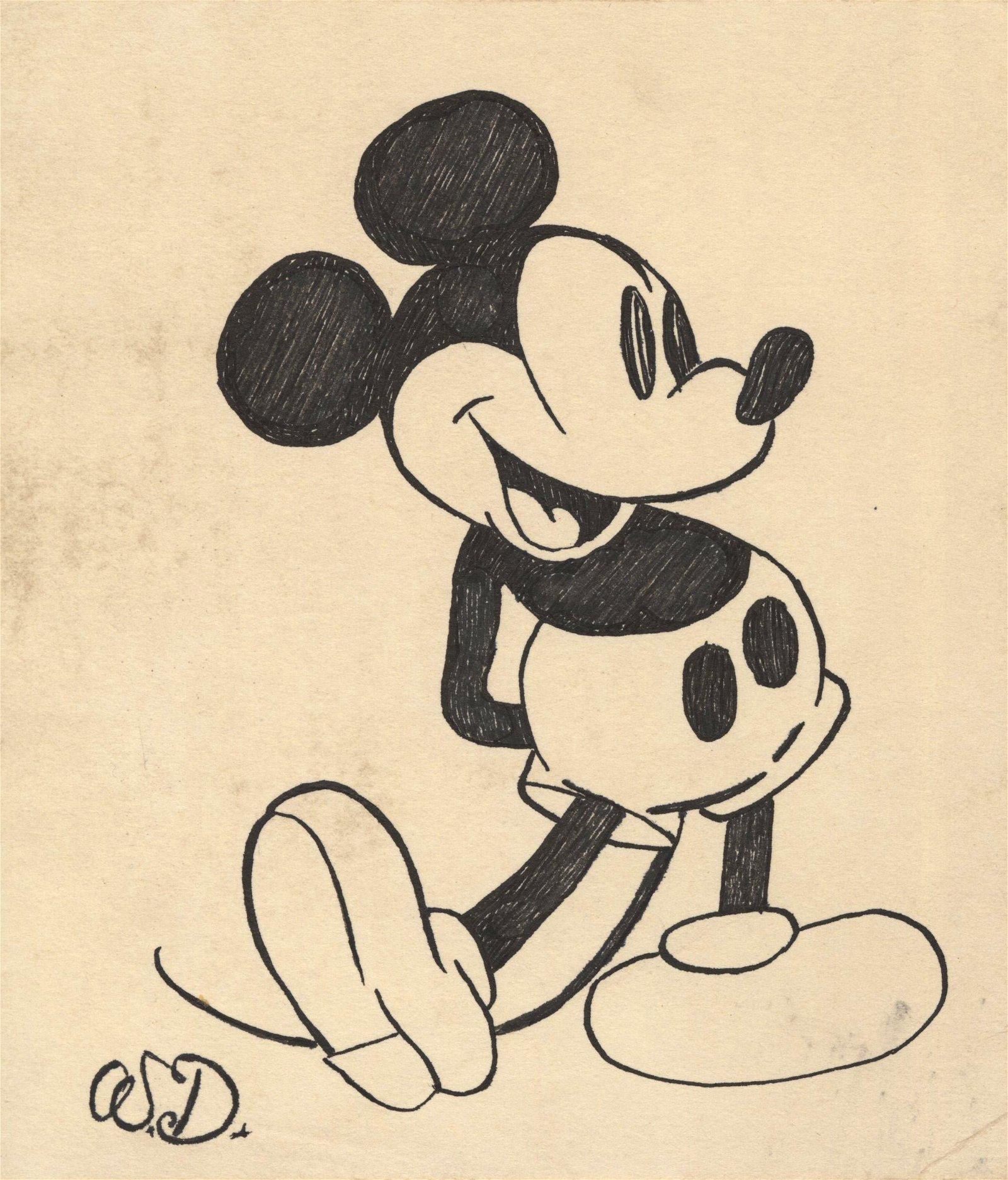WALT DISNEY - Mickey Mouse, Joyful - Pen & ink drawing ...