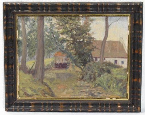LORENZO P. LATIMER - Country Home - Oil on board