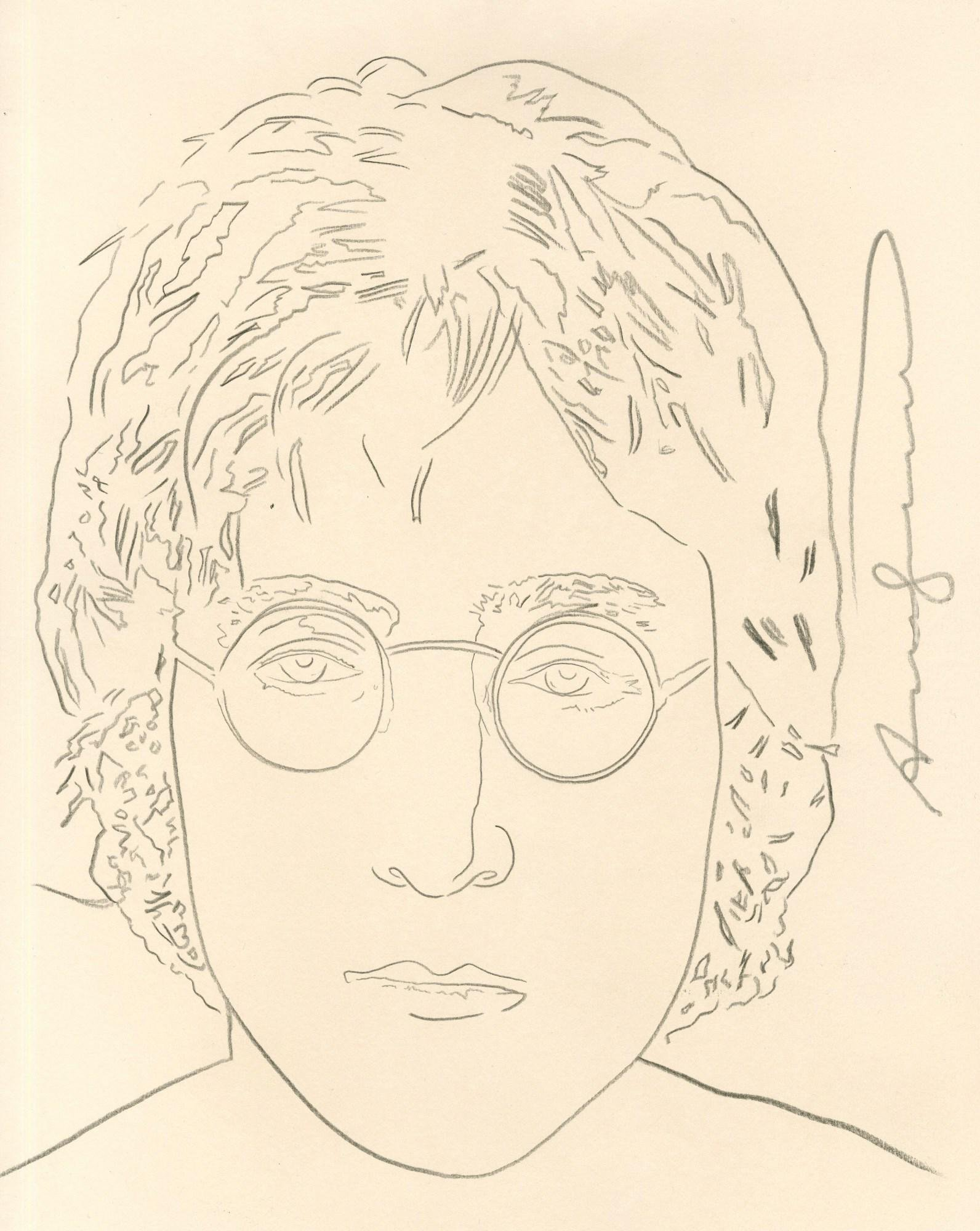 ANDY WARHOL - John Lennon - Pencil on paper