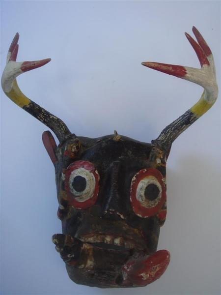 1201: MEXICAN MASK [TRADITIONAL - 0019] Hand-carved pol
