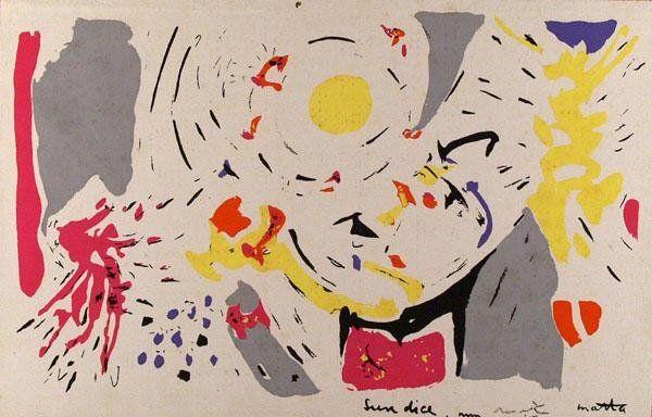 468: ROBERTO MATTA (Chilean/French) Original color silk