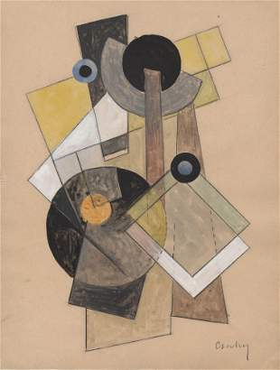 JOSEPH CSAKY - Composition Cubiste - Watercolor and ink