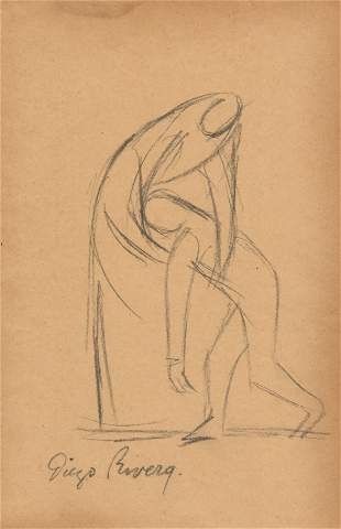 DIEGO RIVERA - Dos figuras - Pencil drawing on paper
