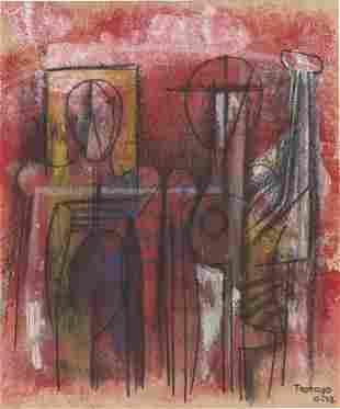 RUFINO TAMAYO - Dos figuras - Mixed media on paper
