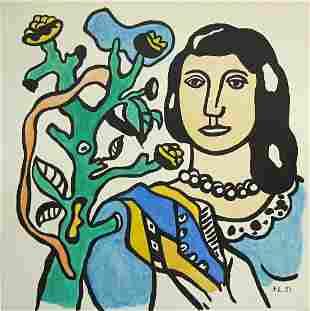 FERNAND LEGER - Femme a la fleur - Watercolor, gouache,
