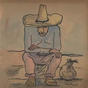 DIEGO RIVERA - Hombre descansando - Watercolor and pen