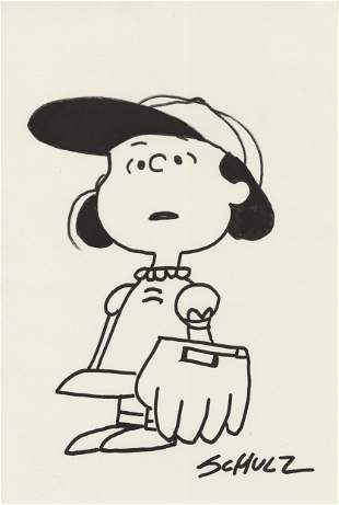 CHARLES SCHULZ - Lucy Playing Baseball - Marker drawing