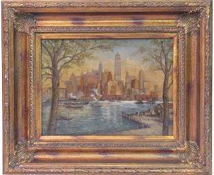 C. C. COOPER - New York City from the Dock - Oil on