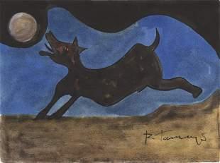 RUFINO TAMAYO - Perro ladrandole a la Luna - Watercolor