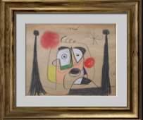 JOAN MIRO - Retrato de Salvador Dali - Gouache, crayon,