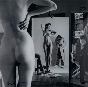 HELMUT NEWTON - Self-Portrait with Wife and Models,