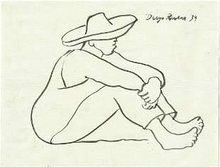 DIEGO RIVERA - Trabajador Descansando - Pen and ink