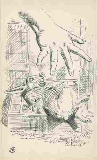 JOHN TENNIEL - Alice Dropping the White Rabbit - Ink on