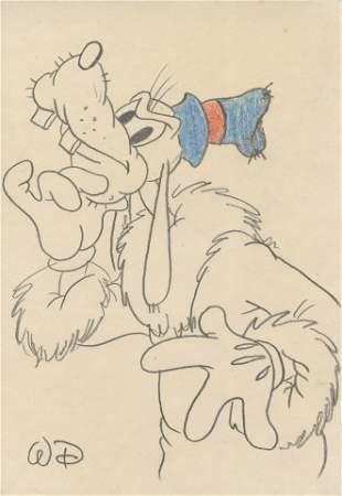 WALT DISNEY - Goofy's New Coat - Pencil and colored