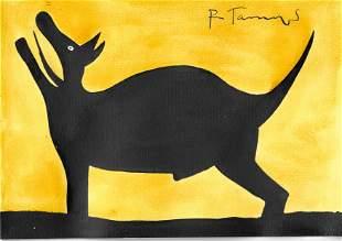 RUFINO TAMAYO - Perro aullando - Watercolor and gouache
