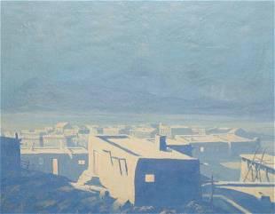 JACK VAN RYDER - Moonrise over the Pueblo - Oil on