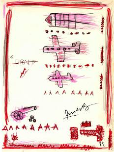 JEAN-MICHEL BASQUIAT - Graft - Crayon, marker, pen, and