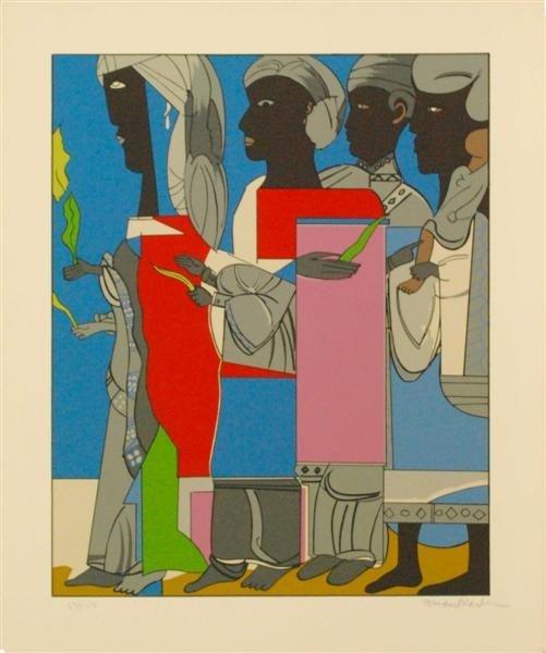 35: ROMARE BEARDEN (American) Color silkscreen