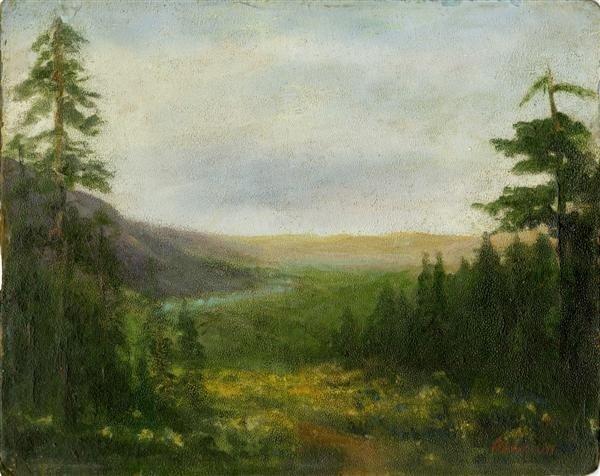 549: ALBERT BIERSTADT - Oil on artist board