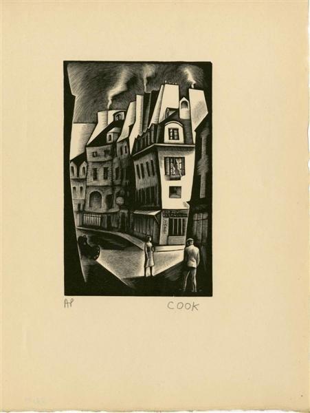 554: HOWARD COOK - Wood engraving