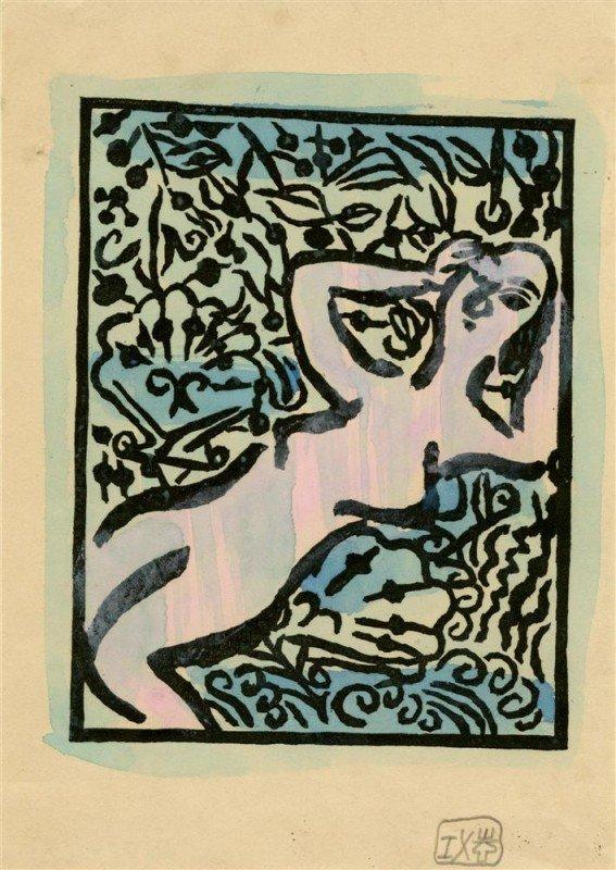 1229: SHIKO MUNAKATA - Woodcut with watercolor handcolo