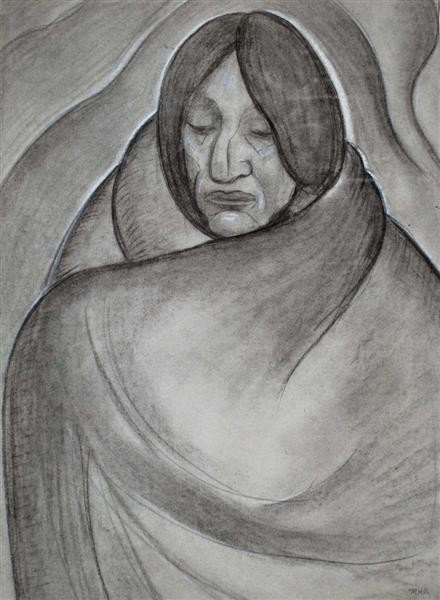 75: MARIE BRUNER BURT HAINES - Charcoal and pastel on p