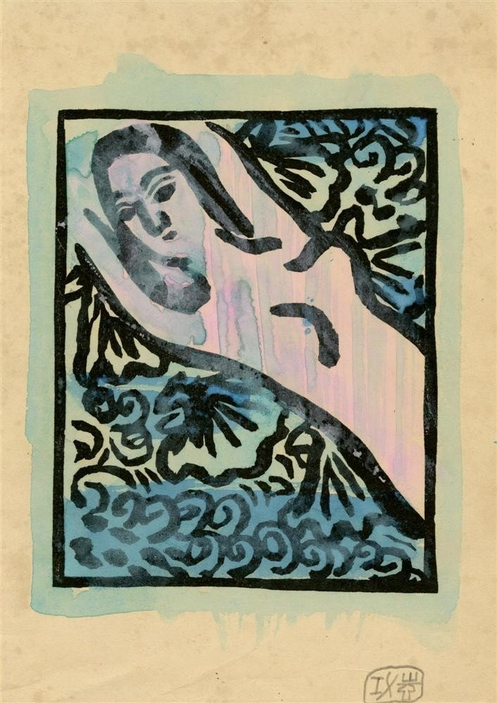359: SHIKO MUNAKATA - Woodcut with watercolor handcolor