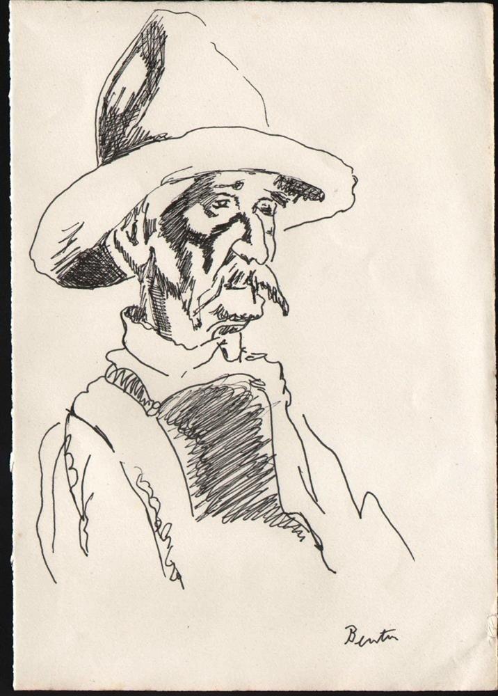 18: THOMAS HART BENTON - Original pen and ink drawing