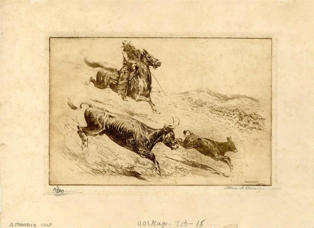 22: EDWARD BOREIN - Etching with drypoint, printed in b