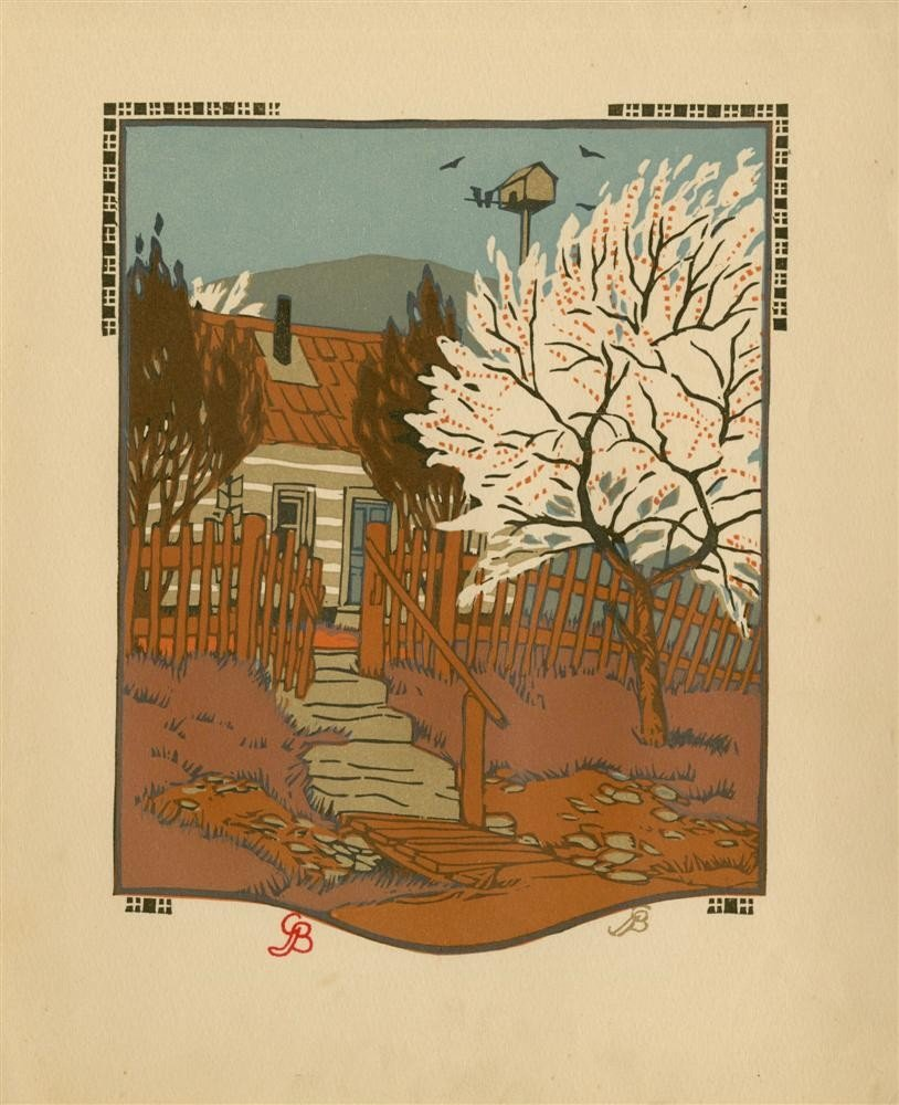 618: GUSTAVE BAUMANN - Original color woodcut