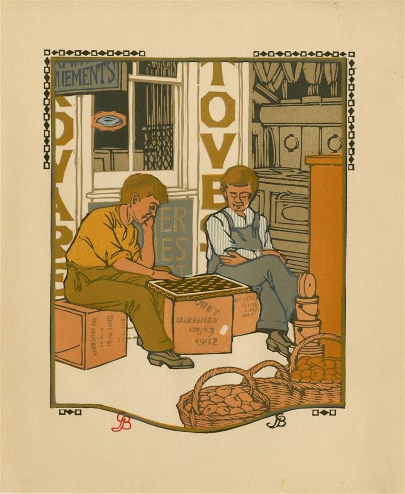 619: GUSTAVE BAUMANN - Original color woodcut