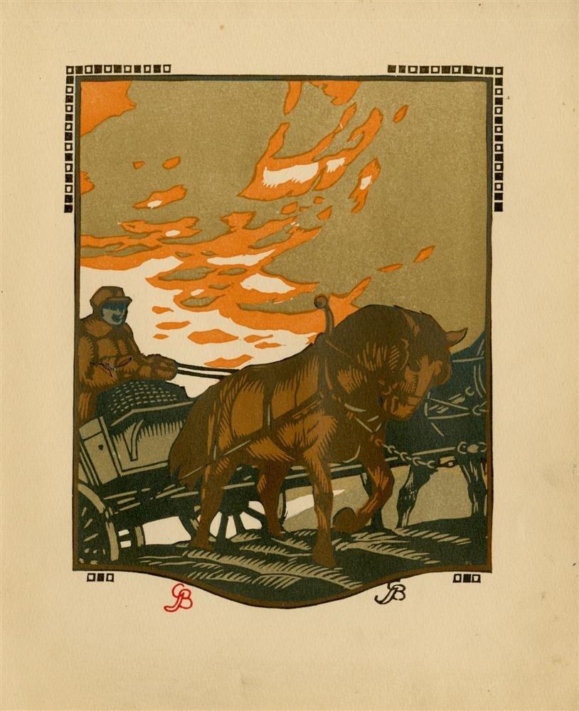 621: GUSTAVE BAUMANN - Original color woodcut