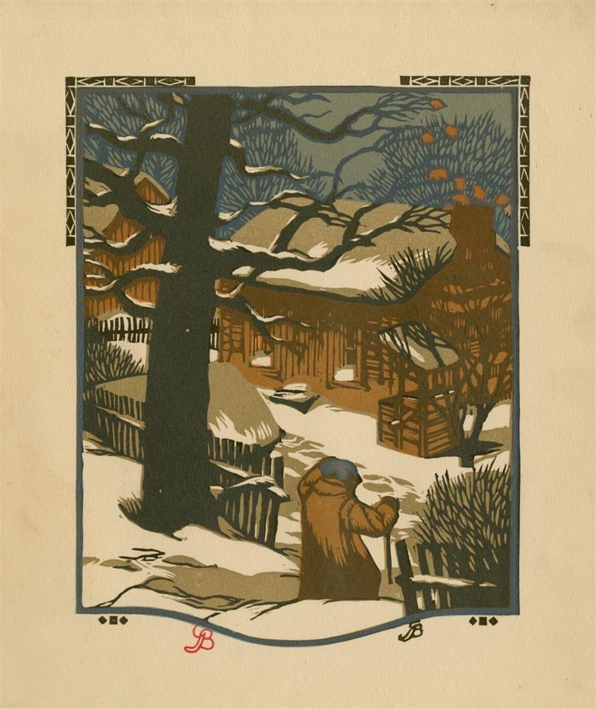 622: GUSTAVE BAUMANN - Original color woodcut
