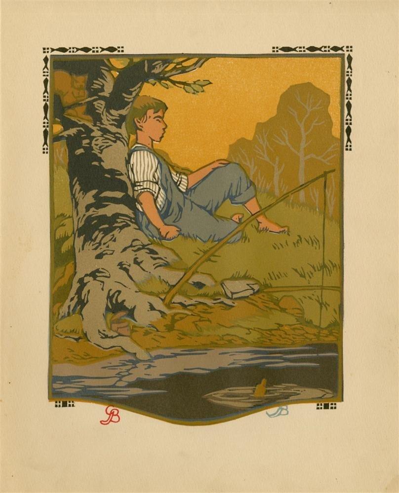 623: GUSTAVE BAUMANN - Original color woodcut
