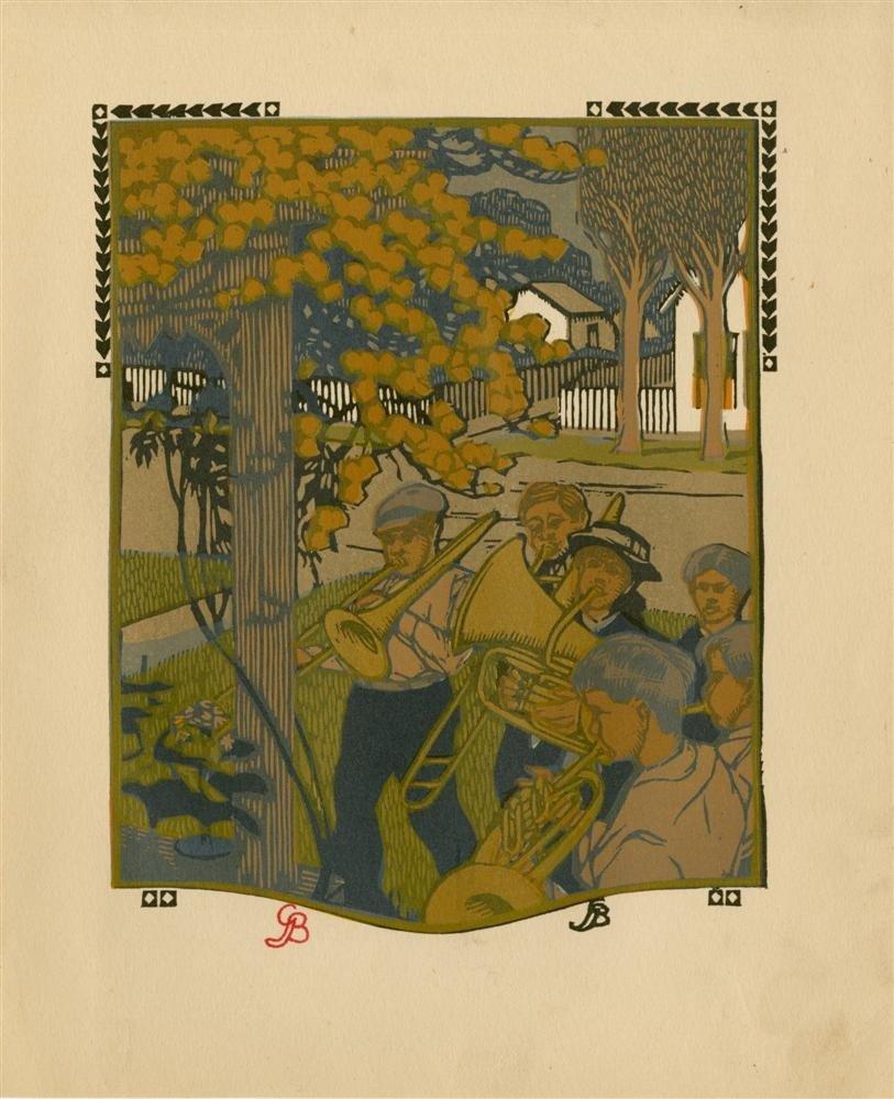 624: GUSTAVE BAUMANN - Original color woodcut