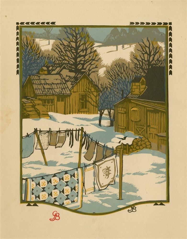 627: GUSTAVE BAUMANN - Original color woodcut